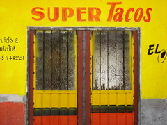 not ordinary taco doors (msdonnalee) Tags: door portal woodendoor puerta tacocafe supertacos gelb jaune amarillo yellow giallo  porta tr donnacleveland  photosbydonnacleveland mxico mexique mexico messico   i