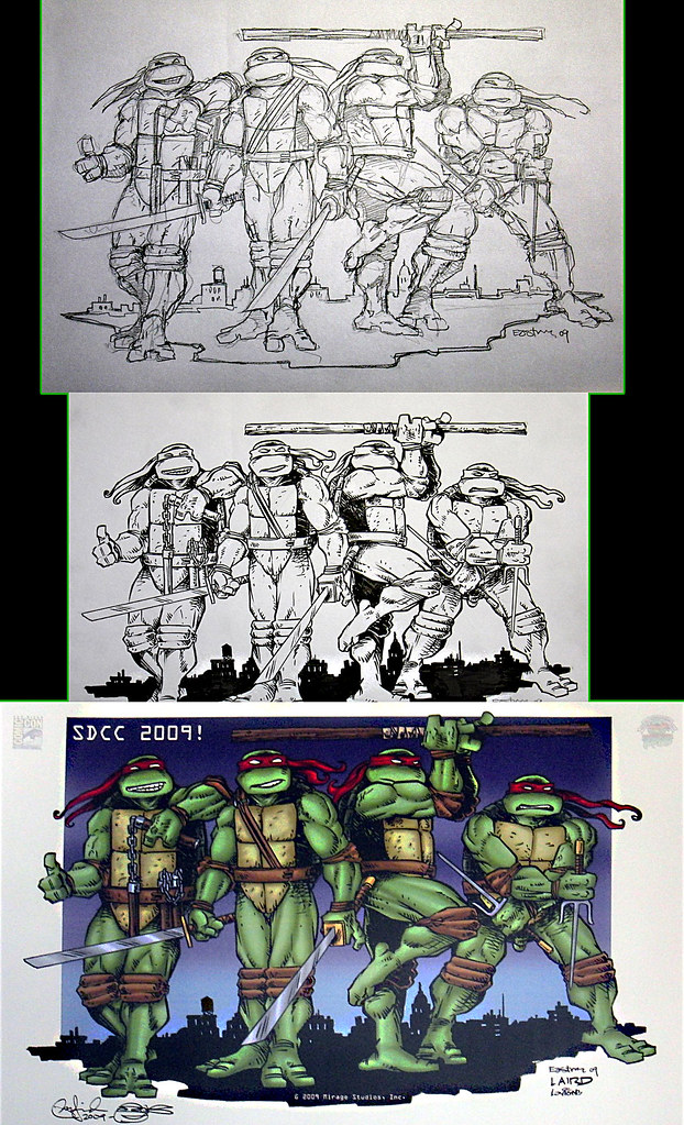 "Kevin Eastman, Peter Laird and Steve Lavigne Reunite :  ""Jake Black S.D.C.C. Benefit Print""  (( 2009 ))  [[ Courtesy of PL ]]"