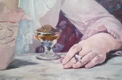 Edouard Manet, Plum Brandy, hand