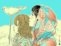Mila and me (pixel endo :-) Tags: selfportrait flower art love illustration work hair golden sand paint pattern desert dove mila daughter mother pixel warsaw hood locks plus taipei bangs gaze distant endo littlehand agatanowicka fubonartfoundation