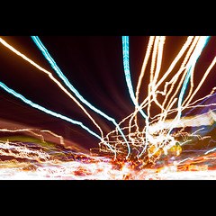 Chaos from Jai (Bright Lights, Vegas Nights) Tags: abstract blur night canon eos lasvegas lighttrails traffictrails lasvegasstrip rebelxs canonefs1855mmf3556is 1000d shotsfromjai