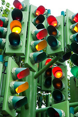 Ready, steady...stop, steady on, go, stop, get ready, no - wait, go, stopppp... (Ly (Lyanne Wylde Photography)) Tags: trafficlights london art go stop confused 1998 trafficlighttree pierrevivant likemymind amsureitlookscoolafterdarkbutitwasrainingandiwastired