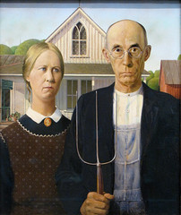 """American Gothic"" by Grant Wood (mark6mauno) Tags: wood chicago art painting grant gothic institute american oil americangothic grantwood the theartinstituteofchicago beaverboard canonpowershotsx10is"