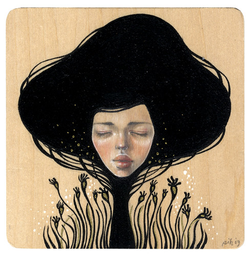 "Whisper. 4""x4"". Mixed Media (Graphite, Acrylic, Metallic Pen & Watercolor on Wood). ©2009."