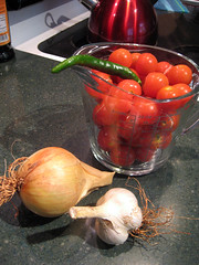 salsa ingredients - all home grown