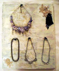 Waiting for paint to dry (scrappy annie) Tags: necklace mixedmedia workinprogress wip jewellery button