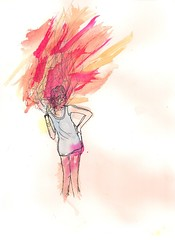 Ginger (jonboy!) Tags: red woman chicago zine color colour art college water girl lines fashion ink pose hair bristol o