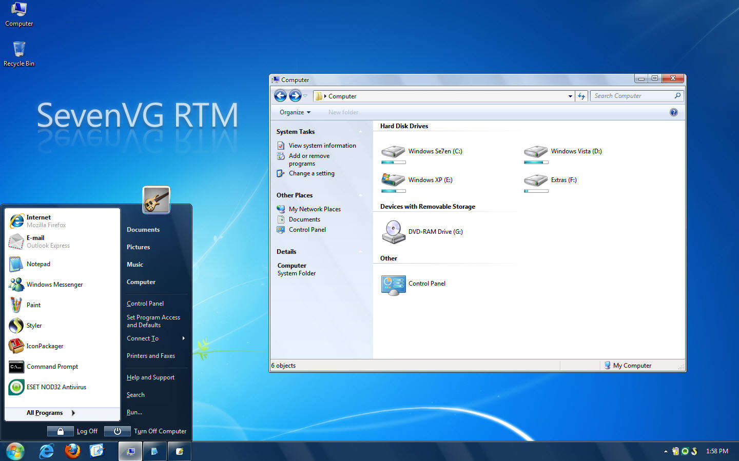 SevenVG RTM Windows 7 Theme가 XP에 설치된 모습