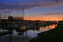 Peaceful Harbor (Jill Clardy) Tags: county ca city sunset moon night clouds marina reflections harbor twilight san dusk peaceful flags crescent clear explore 100views redwood 500views sailboats mateo masts hdr 0809 photomatix explored ©2009jillclardy