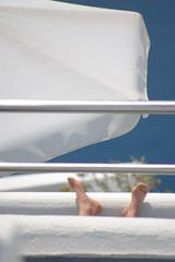 foto turista relax isola santorini grecia