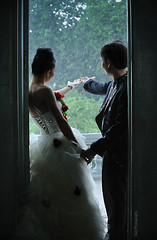 rain of love (TA.D) Tags: wedding red portrait sky cloud white tree girl beautiful face leaves rain bride nikon vietnam tad hcm thanh saigon hochiminhcity oldbuilding nga abigfave chandung d700