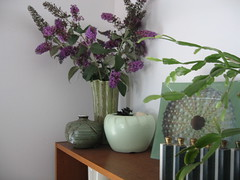 Butterfly Bush Branches (krakencrafts) Tags: flowers green purple branches vase butterflybush californiapottery whitepottery
