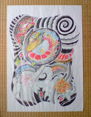 Japanese Snake Tattoo. japanese tattoo flash snake