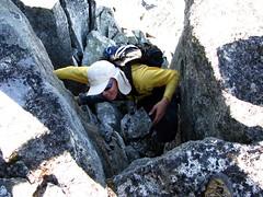 Stemalot Stems (Dru!) Tags: chimney canada stem shadows bc britishcolumbia alpine granite opposition scramble bridging scrambling 3rdclass taillefer stemalot
