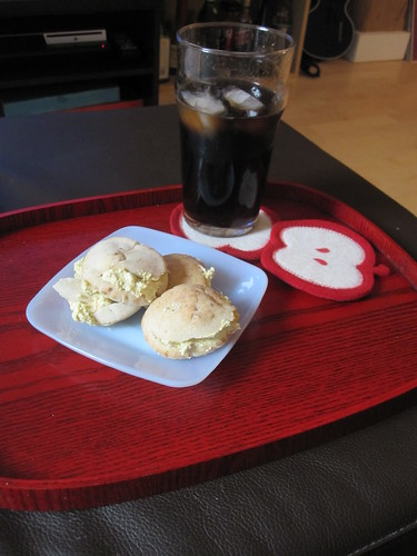 Pita stuffed with tofu spread, Diet Coke at home