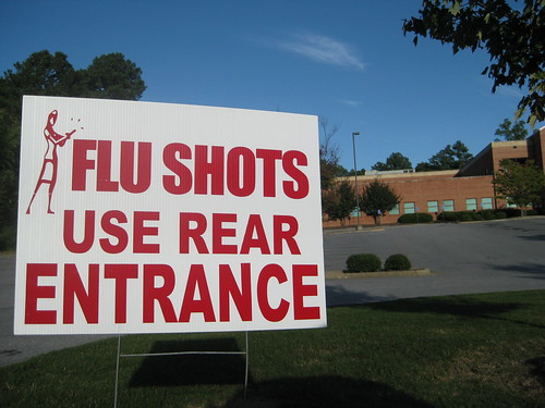 Flu shots use rear entrance
