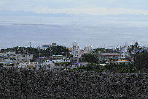 town of Yomitan-son and the distant view of Kerama Islands