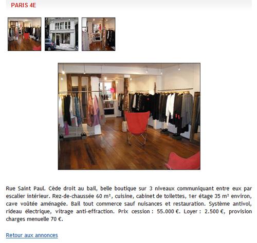 annonce boutique rue St-Paul