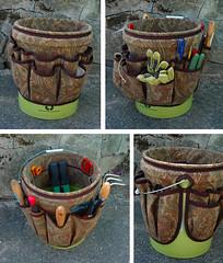 Bucket Apron for Gardening Tools (kizilod2) Tags: brown garden bucket sewing ascot tools organizer fabric paisley suede organize 5gallon fivegallon pkaufmann bucketapron