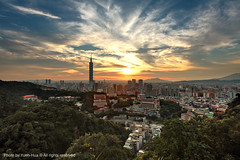 Taipei City at Sunset, Taiwan  Jun. 6, 2011 (*Yueh-Hua 2013) Tags: camera sunset building tower architecture night skyscraper canon buildings eos fine taiwan 101  5d taipei taipei101 dslr        hdr  101    canoneos5d    horizontalphotograph  l canonef1635mmf28liiusm  taipei101skyscraper taipei101internationalfinancialcenter tigerpeak   2011june