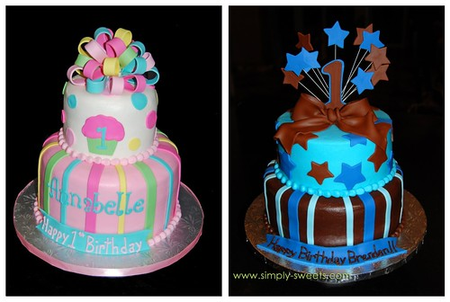 Popular 1st Birthday 2 tier Cakes