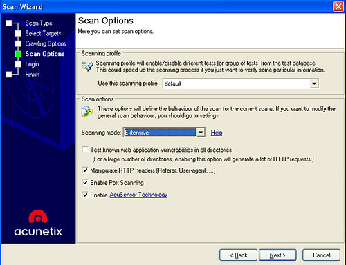 Acunetix Web Vulnerability Scanner - Scan Options
