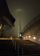 136. Fun in the fog (Justin Kraemer Photography) Tags: seattle fog stairs earlymorning needle spaceneedle emp seattlecenter foggyseattle