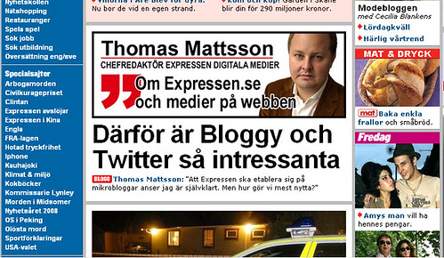 Thomas Mattsson on Bloggy and Twitter in Expressen.se