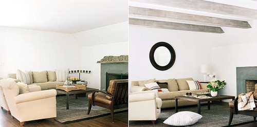 Before & after living room: Faux wood beams + round mirror