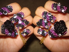 Black Rose (Pinky Anela) Tags: black rose japanese tokyo purple nail chain nailart japanesenail