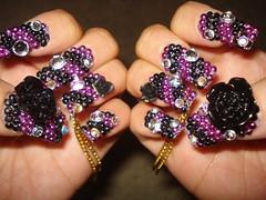 ★Black Rose★ (Pinky Anela) Tags: black rose japanese tokyo purple nail chain nailart japanesenail