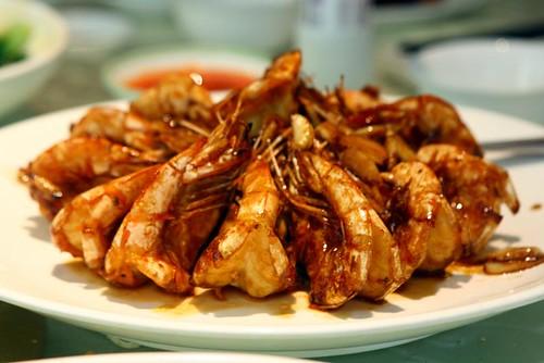 Almond prawns