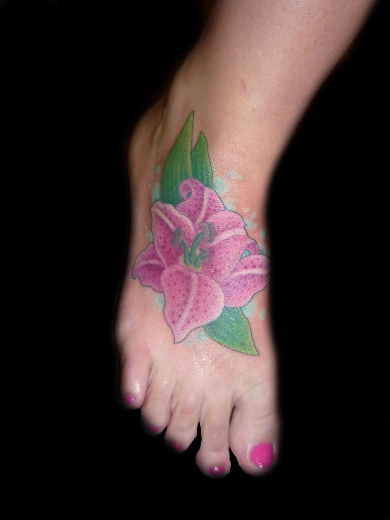 lilly flower tattoo on foot
