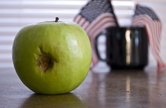 Rotten Apple (akatchen) Tags: apple rotting closeup digital americanflags patriotism nikond60