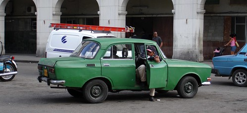 Old green car in Havana