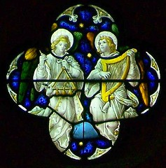 Musical angels, Pontypridd (robin.croft) Tags: church saint angel triangle victorian stainedglass catherine harp stcatherines anglican edwardian pontypridd rct rhonddacynontaff angemusicien