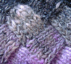 Detail - Entrelac worked with wrapping