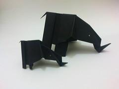 Mama and baby elephant. (Husna Muhaniah) Tags: elephant origami paperfolding