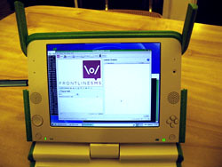 FrontlineSMS running on the OLPC