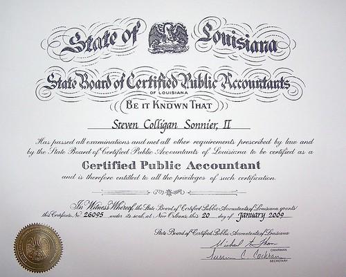 2009 - 01-20 - Luke Sonnier CPA Certificate