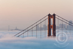 Foggy San Francisco & Golden Gate Bridge Sunrise (jimgoldstein) Tags: sanfrancisco california bridge fog skyline sunrise goldengatebridge fv10 jmggalleries anawesomeshot jimmgoldstein canon1dsmarkiii epiceditsselection