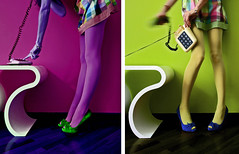 _ Si? (sara schmetterling) Tags: color colors girl 60s legs telephone skirt colores zapatos telefono gambe piernas falda sesenta diptico