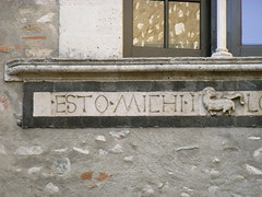 Palazzo Corvaja (inside) (Catherine Dixon) Tags: italy public june roman sicily lettering republican taormina 2009 inscriptional