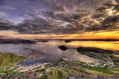 HDR over Rypefjord (Tor Even Mathisen) Tags: travel sunset summer sky cloud reflection nature water norway rock clouds canon landscape geotagged long exposure paradise 5d hdr midnightsun finnmark hammerfest mkii midnattsol 1635mmf28l rypefjord tilfotoramme