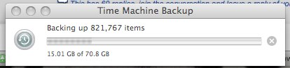 Time Machine Backup: 7 hours later
