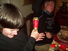 Kathy and Peter pulling their xmas crackers