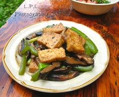 Braised tofu  (Pei-Lin Liew) Tags: yummy tofu chinese braised springonion shiitakemushrooms greencapsicum