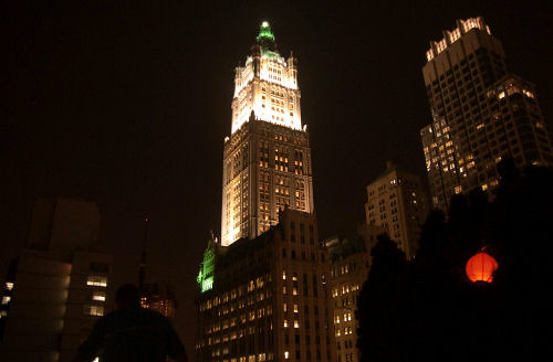 woolworth building, solitary man