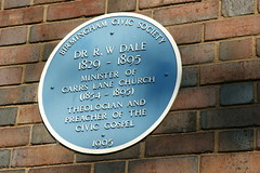 Photo of R. W. Dale blue plaque