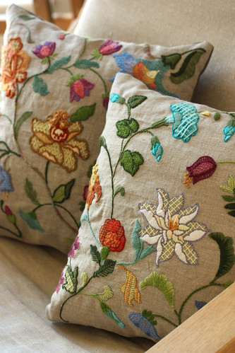 crewel embroidery pillow